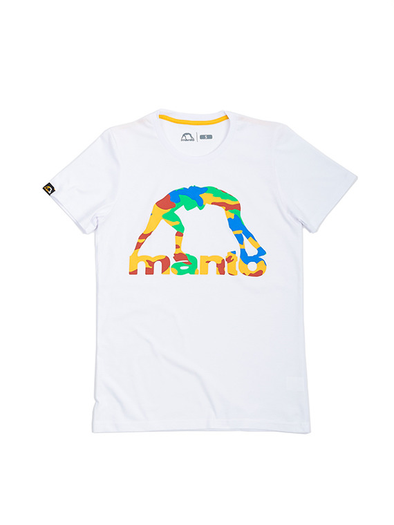 MANTO t-shirt COLOR CAMO biały