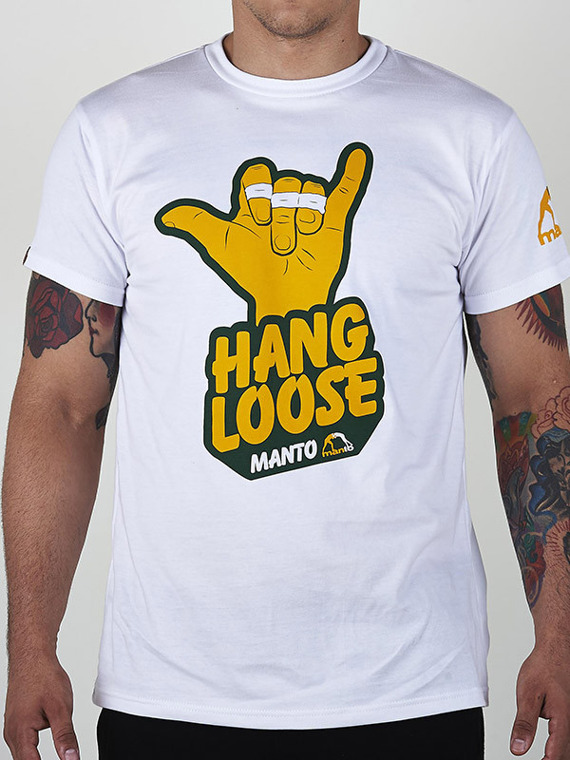 MANTO t-shirt HANG LOOSE biały