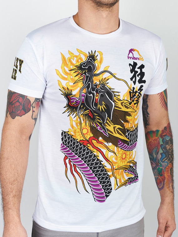 MANTO t-shirt KRAZY BEE DRAGON biały